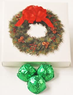 Scott's Cakes Milk Chocolate Strawberry Marzipan Candies with Yellow Green Foils in a 1 Pound Wreath Box