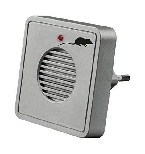 Gardigo Mäuseabwehr Ultraschall Stecker - Batteriebetrieben, Akku - Steckdose - Für Haus, Wohnung, Garage, Schuppen, Dachboden - Silbergrau