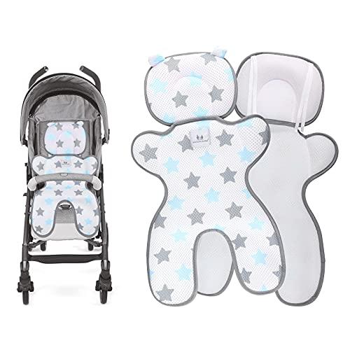 HALOVIE Sitzauflagen für Kinderwagen Sommer Kinderwagensitzkissen 3D Mesh Atmungsaktive Sommer Sitzeinlage Universal Sitzauflage für Kinderwagen, Buggy, Kindersitz und Babyschale Kühl Bequem Blau