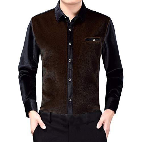 Sliktaa Herrenhemd aus dickem Samt, warm, langärmlig, lässig, einfarbig, bügelfrei, Herbst / Winter Gr. XL, braun