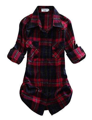 Match Women's Long Sleeve Plaid Flannel Shirt #2021(X-Large, Checks#11)