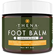 Tea Tree Oil Antifungal Foot Cream Concentrate Formula, Relieves Athletes Foot Dry Cracked Feet & Heel Itchy Skin Jock Itch Toenail Fungus Treatment Callus Ringworm, Best Natural Foot Care Ointment