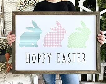 by Unbranded Letrero de madera adorable Hoppy Pascua conejo conejo fila granja Pascua primavera signo