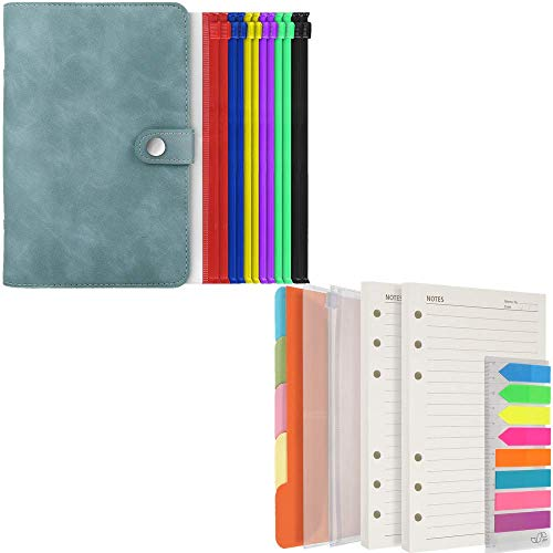 Refillable 6 Rings Leather Cover with 12 Colored Cash Envelopes, 200 Sheet Lined Paper, Binder Dividers, Sticky Index Tabs with Ruler