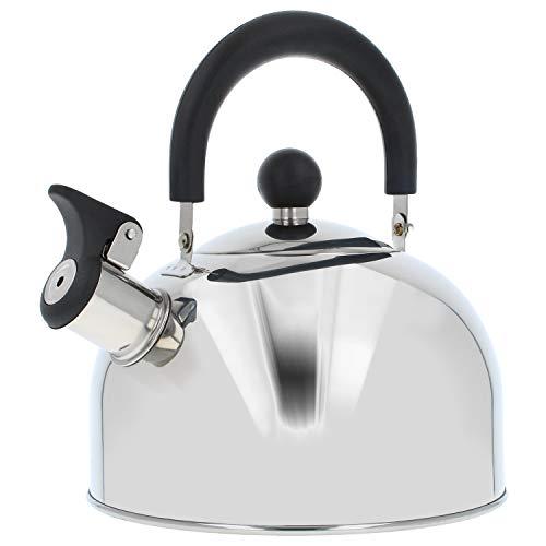 COM-FOUR® Teekessel 1,0 Liter - Induktions-Herd geeignet - Retro Wasserkessel aus rostfreiem Edelstahl - Flötenkessel zum Wasserkochen - Retro Kessel (01 Stück - 1.0 Liter)