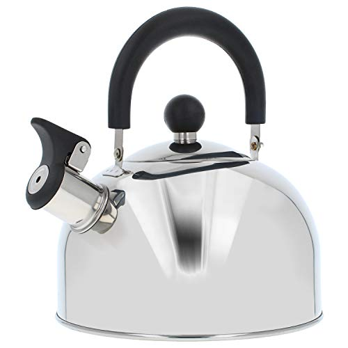 COM-FOUR tetera 2.0 L - tetera retro de acero inoxidable - tetera para hervir agua - tetera retro (01 piezas - 2.0 litros)