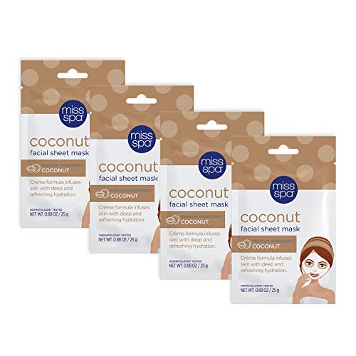 Miss Spa Coconut Facial Sheet Mask Set for Dry Skin, Moisturizing and Hydrating, Anti-Aging, Anti-Wrinkle, Skin Care for Women, 4-Pack
