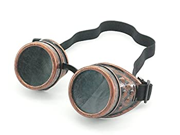 Sepia Cyber Goggles Steampunk Welding Goth Cosplay Vintage Goggles Rustic  Copper