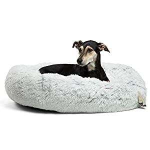 Best Friends by Sheri The Original Calming Donut Cat and Dog Bed in Shag Fur, Large 36″x36″ in Frost, Removable Zipper Shell, Machine Washable (DNT-SHG-FRS-3636-VP)