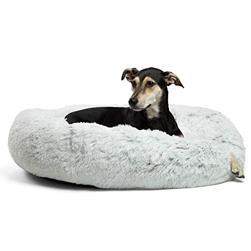 """Best Friends by Sheri The Original Calming Donut Cat and Dog Bed in Shag Fur, Large 36""""x36"""" in Frost, Removable Zipper Shell, Machine Washable (DNT-SHG-FRS-3636-VP)"""
