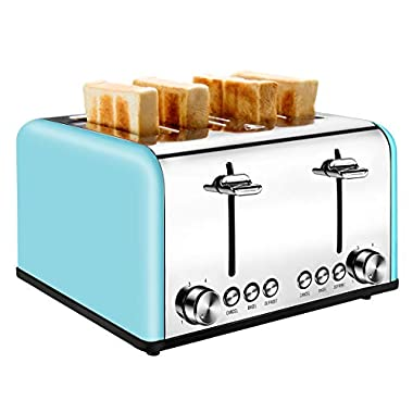 4 Slice Toaster, CUSIBOX Extra-Wide Slots Bagel Toaster Stainless Steel with 6 Bread Browning Settings, BAGEL/DEFROST/CANCEL Function, 1650W, Blue