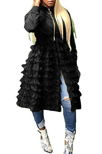 Women Jackets Dress Long Sleeve Zipper Ruffle Sheer Mesh Patchwork Dress Bomber Jacket Outwear Plus Size