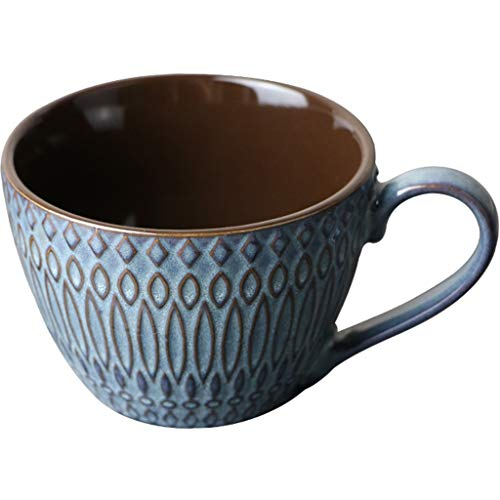 Tasse Vintage/céramique Tasse de café, estampées texturé Mur extérieur, Large Calibre Bouche, Kiln Changer processus Glaze, Petit-déjeuner Oat Lait, Bleu, 240mL