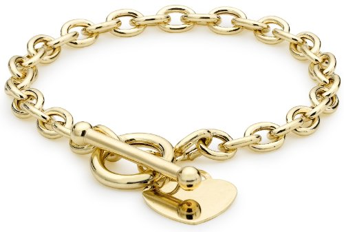 Carissima Gold Women's 9 ct Yellow Gold Oval Belcher Heart Tag T-Bar Bracelet of Length 19 cm/7.5 Inch
