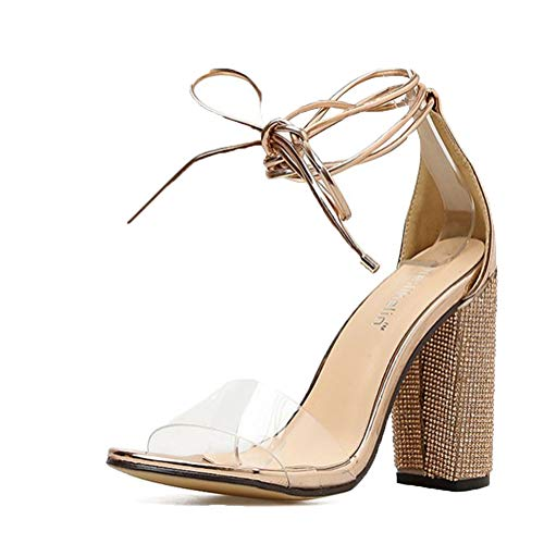 Damen High Heels Sandalen Transparente Peep Toe Sandalen Knöchel Schnalle Party Freizeit Hochzeit Abend Sommer Schuhe Gold 38 EU
