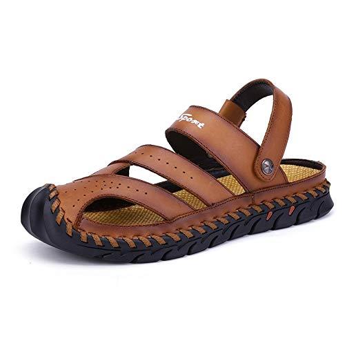 Xingyue Aile Zapatillas y sandalias Verano al aire libre transpirable zapatillas de playa para los hombres, cuero de la PU sandalias cómodas costura antideslizante plana evitación de colisión ronda ci