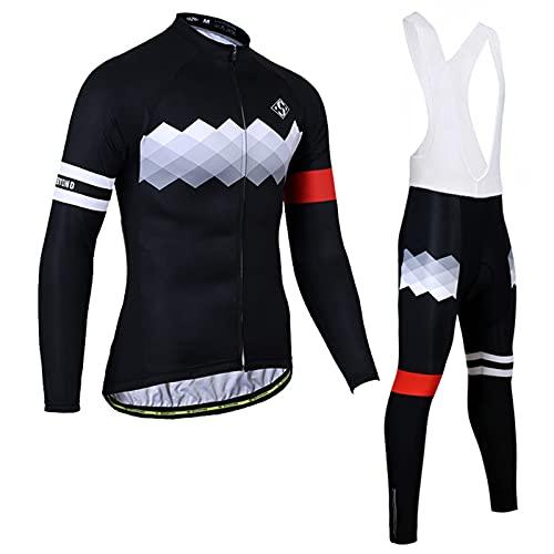 Camiseta De Ciclismo para Hombre, Camiseta De Ciclismo De Manga Larga, Camiseta De Ciclismo, Raya Reflectante De Equipo De Ciclismo, Ropa Deportiva con Peto De Ciclismo,D,L