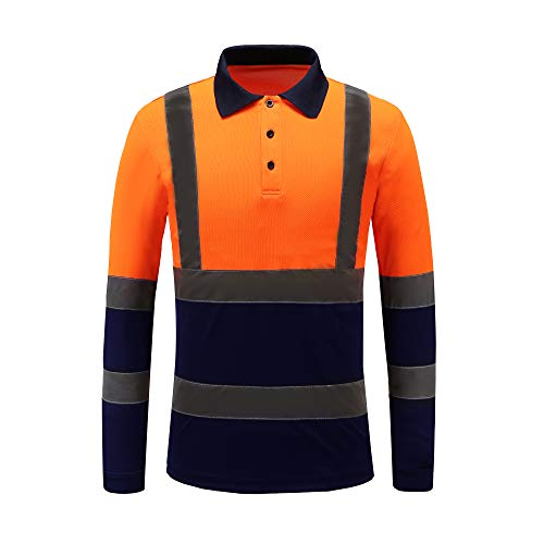 Hi viz Marinekragen Sicherheits Arbeitskleidung Hoch Visibility Polo T Shirt Sicherheits-Polo-Shirt Langarm (orange, L)