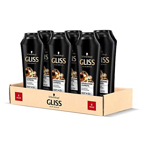 Schwarzkopf Gliss Shampoo Riparazione Suprema, Shampoo Riparatore, Riparazione Intensa, per Capelli Danneggiati, con Keratina Liquida e Perla Nera, Confezione da 6 pezzi x 250 ml