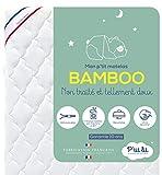P'tit Lit - Matelas Bébé Bamboo - 60x120 cm - Viscose Douce et Absorbante - Sans traitement chimique - Déhoussable - Oeko Tex - Fabrication Française