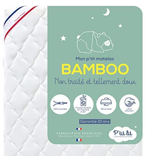 P'tit Lit - Matelas Bébé Bamboo - 60x120 cm - Viscose Douce et Absorbante - Sans traitement chimique - Déhoussable - Oeko Tex® - Fabrication Française