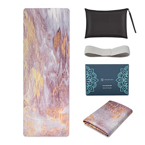 """SNΛKUGΛ Travel Yoga Mat Foldable, 1/16 Inch Thin Non Slip Yoga Mat Lightweight, Carrying Bag, Eco Friendly Natural Rubber & Suede, Portable Fitness & Exercise Mat 72""""L x 26""""W x 1.5mm, Pink Clouds"""