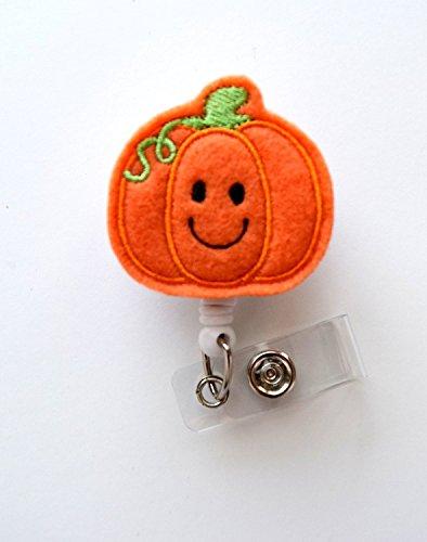 Smiling Pumpkin - Teacher Badge Holder - Nurses Badge Holder - Felt Badge - Nursing Badge Holder - Teacher Badge Reel - RN Badge Reel- Alligator Clip