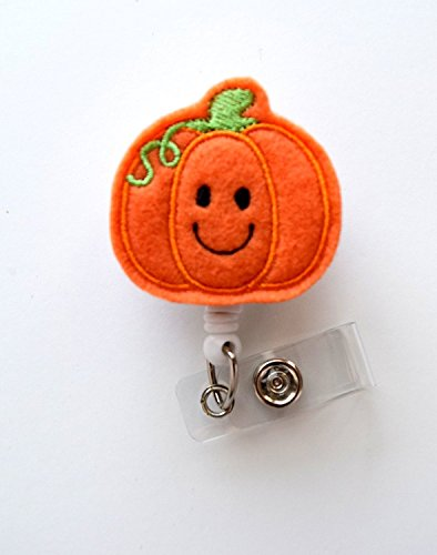 Smiling Pumpkin - Teacher Badge Holder - Nurses Badge Holder - Felt Badge - Nursing Badge Holder - Teacher Badge Reel - RN Badge Reel-�Alligator�Clip