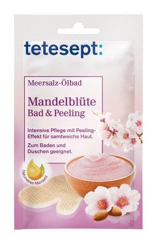 tetesept Meersalz Ölbad Mandelblüte – Bad & Peeling - Zum Baden und Duschen - intensiv pflegend – 10 x 65 g