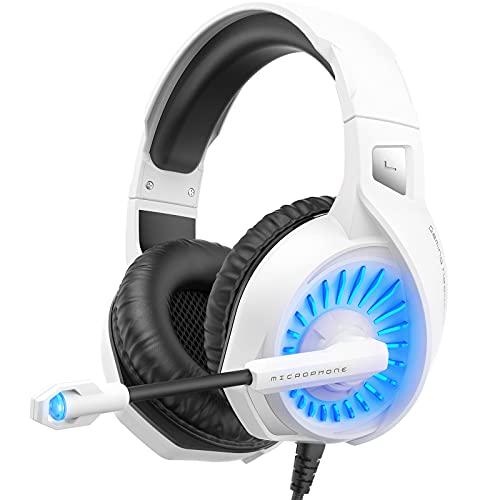 ZIUMIER Z20 One Casque Gamer PC,PS4,PS5,Xbox One,Mac Casque Gaming Blanc avec Microphone Antibruit LED Lampe pour Ordinateur Téléphone Portable Pilote Bass Surround Sound 50MM