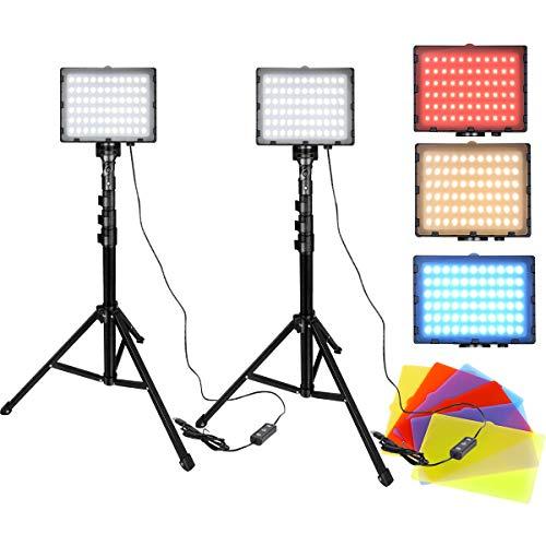 HENGMEI - Lámpara LED de vídeo, regulable, USB, 10 W, luz de fotografía, iluminación con trípode ajustable, filtro de color para YouTube Studio Fotografía, porträt de productos