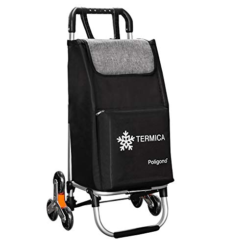 Carro para la compra con compartimento térmico, sistema de 3 + 3 ruedas, escalera, fabricado en aleación de aluminio con bolsa de robusto poliéster impermeable.