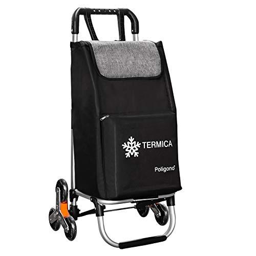 Einkaufstrolley mit Thermofach, System 3 + 3 Räder, Salzleiter, aus Aluminiumlegierung mit Tasche aus robustem, wasserdichtem Polyester, Farbe Schwarz