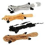 augot giochi per cani, 4 pacco senza imbottitura peluche per cani interattivo resistenti giochi per cani cuccioli non tossico peluche cane di taglia (puzzola, scoiattolo, pelle di procione, volpe)