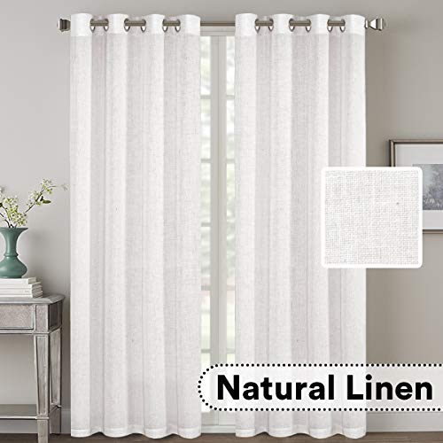 H.VERSAILTEX Natural Effect Extra Long Curtains Made of Line Mixed Rich Material, Nickel Grommet Window Panel Drapes (Set of 2, 52 by 108 Inch, Off White)