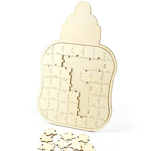 CLE DE TOUS - Puzzle de Madera Libro de Firmas Libros de visitas para Fiesta Boda Bautizo Baby Shower Cumpleaños (Chupete)