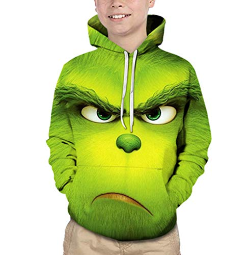 ZBSPORT Unisex 3D Hoodie Pullover Kinder Mädchen Jungen Lustig Gedruckt Fun Kapuzenpullover Langarmshirt Sweatshirt Grün 2-13 Jahre