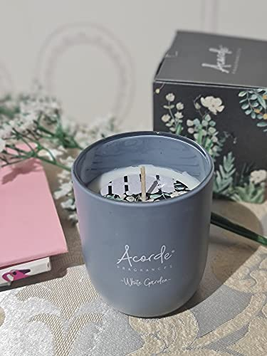 Acorde Aromatic Candles, Scented Candles for Home Decoration, Large Candles for Aromatherapy, Large Variety of Eesoteric Candles, Beautiful, Anti-Tobacco, Natural (White Flowers)