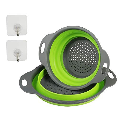 ZoomSky - Set di 2 scolapasta pieghevoli in silicone, per cucina, con 2 ganci per appenderli, per scolare la pasta e lavare frutta e verdura