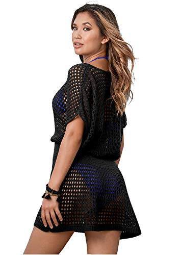 Jinsha Vestido de Playa - Mujer Pareos y Camisola de Playa Sexy Hueco Traje de Baño Punto Bikini Cover up (Oversize-Black)