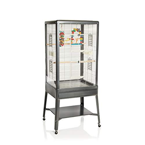Montana Cages ® | Vogelkäfig ca. 64 x 54 x 154 cm Käfig, Vogelvoliere, Voliere mit Ständer für Wellensittiche, Großsittiche und Papageien