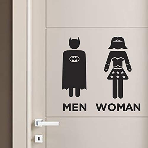 Adesivi Toilette WC Bagno Uomo Donna Adesivo da Parete supereroi Batman wonder woman Stickers Muro Decorazione Domestica Porta Casa