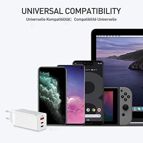 Baseus USB C Ladegerät65W Power Delivery mit GaN Tech, USB-C Netzteil Kompatibel mit MacBook Pro, USB C Laptops, iPad Pro, iPhone 12 Pro Max, 11 Pro Max, Dell XPS 13, HP Spectre, Nintendo Switch usw