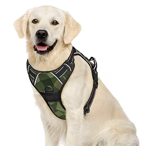 IPETSZOO Dog Harness No-Pull Pet Harness Adjustable Outdoor Pet Vest 3M Reflective Oxford Material Vest for Dogs Easy Control for Small Medium Large Dogs(Pr,L)