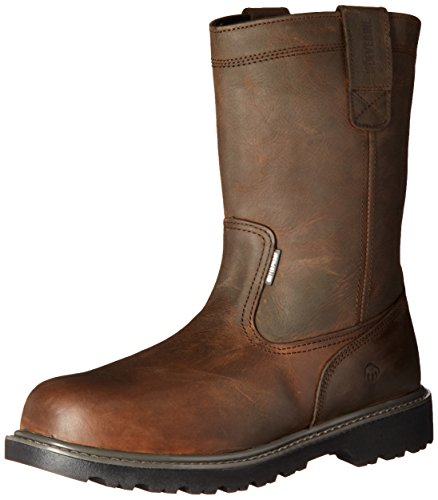 """WOLVERINE Men's Floorhand Waterproof 10"""" Steel Toe Work Boot, Dark Brown, 7 M US"""