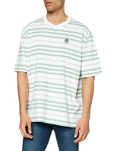Levi's Stay Loose SS tee Camiseta, Backyard Stripe Blue Surf, L para Hombre