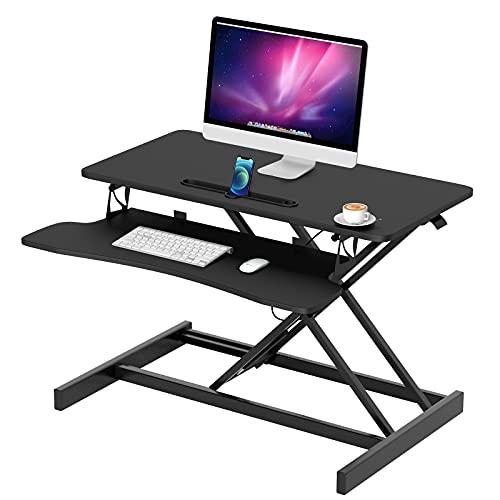 Novhome Conversor de escritorio de pie, altura ajustable de 32 pulgadas, escritorio con bandeja de teclado ergonómico elevador de escritorio para monitor (negro)