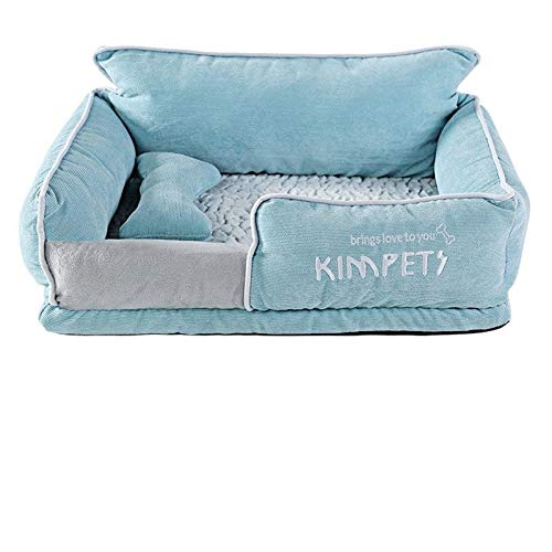 YMYGCC Pet Bed Dog Beds Warm Sleeping Cotton Puppy Bed Washable Detachable Oxford Cloth Kennel Cat Nest Bottom Waterproof Small Cat&Dog Nest 54 (Color : LightBlue, Size : L)
