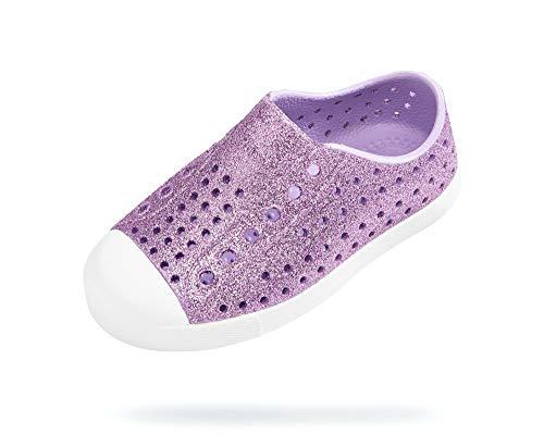 Native Kids Shoes Girl's Jefferson Bling Glitter (Toddler/Little Kid) Powder Bling/Shell White 9 Toddler