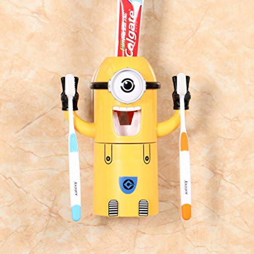 Z-MIN Cartoon Minion Automatischer Zahnpastaspender Zahnbürstenhalter Produkte Kreatives Badzubehör Zahnpasta-Quetscher, hellgelb